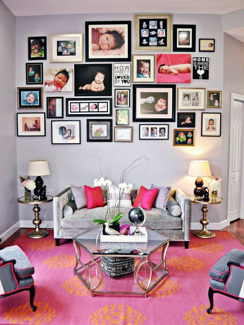 Houzz turquoise and hot pink living room design ideas for Hot pink living room ideas