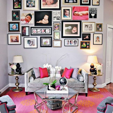 Pink Living and Dining Room