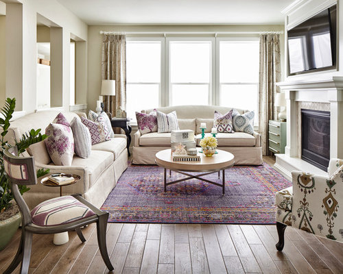 Inspiration For A Timeless Living Room Remodel In Denver With Beige Walls Medium Tone Hardwood