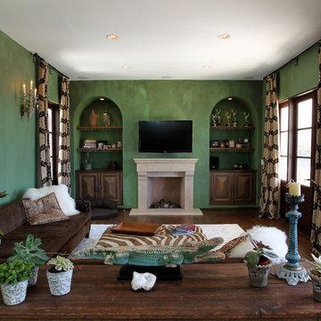 Playa del Rey Mediterranean Living Room with Fireplace Remodel