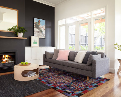 Painted feature wall houzz for Feature wall colours for living room
