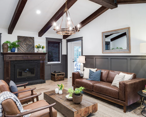 Transitional living room idea in Atlanta with white walls  a standard fireplace and brick Brown Sofa Living Room Houzz