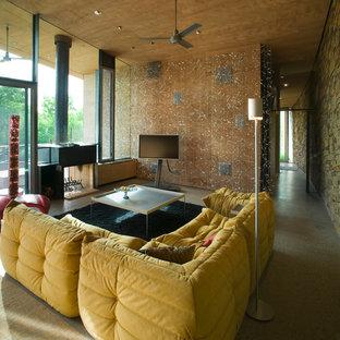 Esempio di un soggiorno moderno con camino bifacciale e TV autoportante