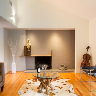 Example Of A Mid Sized Minimalist Open Concept Light Wood Floor And Brown  Floor Living