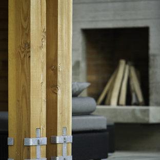 Example of a trendy living room design in Burlington