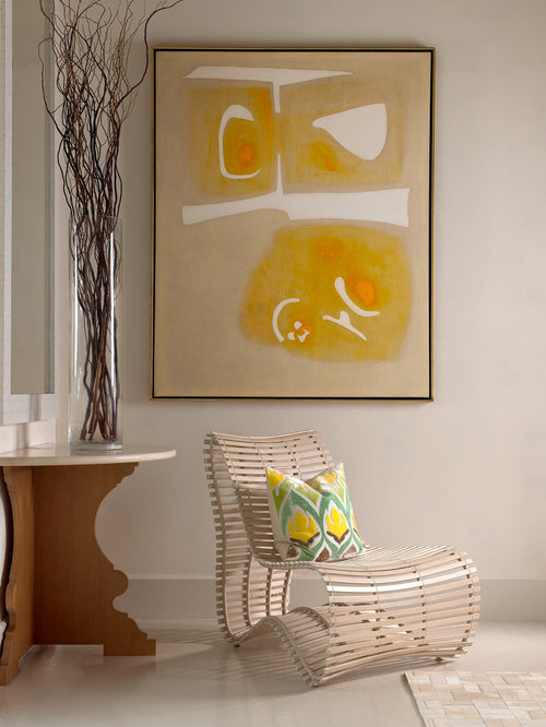 Example of a trendy living room design in Nashville with white walls