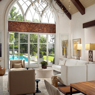Inspiration for a contemporary living room remodel in Nashville with white walls