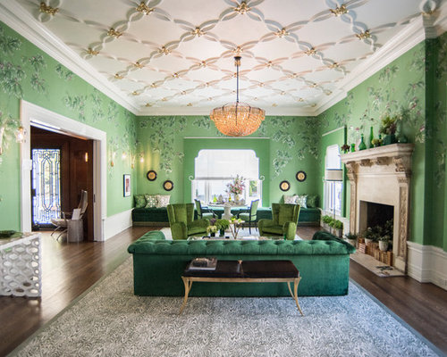Eclectic Formal And Enclosed Dark Wood Floor Living Room Photo In San  Francisco With Green Walls
