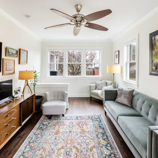 Inspiration For A Transitional Dark Wood Floor And Brown Floor Living Room  Remodel In DC Metro