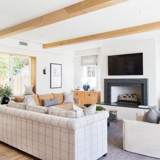 Example Of A Coastal Light Wood Floor And Beige Floor Living Room Design In  Orange County