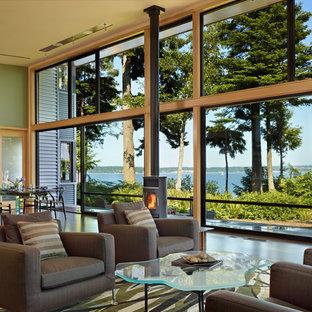 Imagen de salón moderno con paredes verdes y estufa de leña