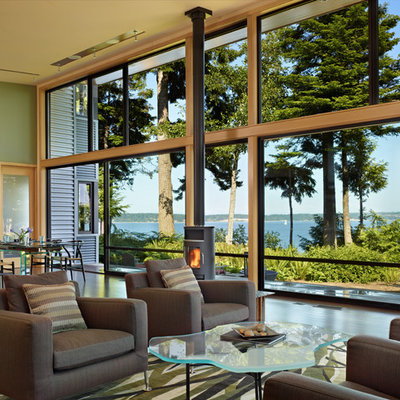 Living room - modern living room idea in Seattle with green walls and a wood stove