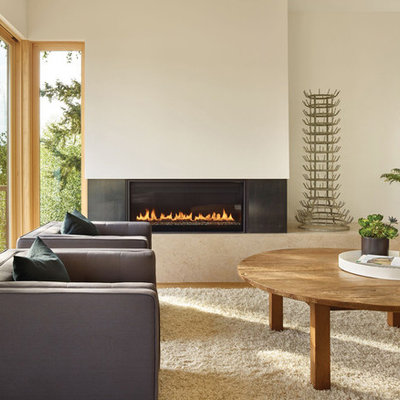 Inspiration for a scandinavian formal light wood floor living room remodel in Seattle with white walls and a ribbon fireplace