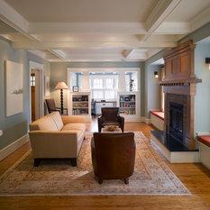 Craftsman Coffered Ceiling Living Room Design Ideas