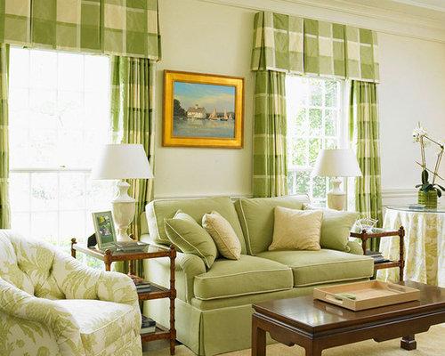 Plaid Curtains Living Room Design Ideas, Remodels & Photos | Houzz