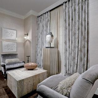 Inspiration för små asiatiska separata vardagsrum, med grå väggar, ett finrum och heltäckningsmatta