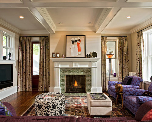 Eclectic Enclosed Living Room Idea In Boston With A Tile Fireplace Surround Dark Wood Floors