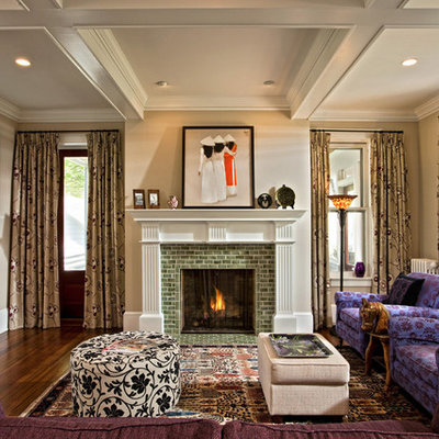 Living room - eclectic enclosed dark wood floor living room idea in Boston with a tile fireplace, a standard fireplace and a wall-mounted tv