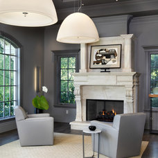 Transitional Living Room by Bernard Andre Photography