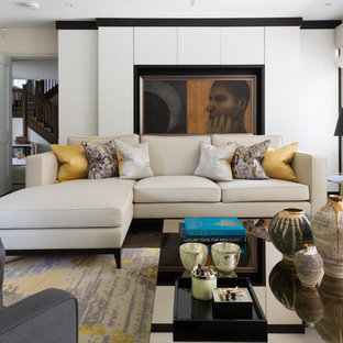 Inspiration for a medium sized contemporary enclosed living room in Other with white walls, dark hardwood flooring and brown floors.
