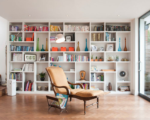 Example of a trendy open concept light wood floor living room library design  in London. Our 11 Best Contemporary Living Room Library Ideas   Decoration