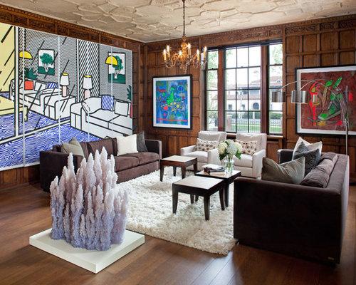 Eklektische wohnzimmer mit brauner wandfarbe ideen design bilder houzz for Wohnzimmer design wandfarbe