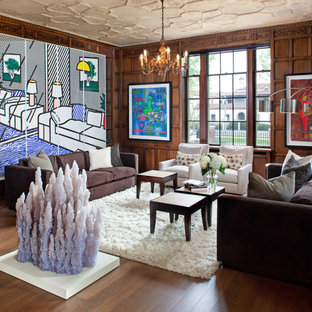 This is an example of a medium sized eclectic formal open plan living room in Milwaukee with dark hardwood flooring, brown walls, no fireplace and no tv.