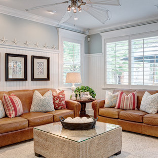 Coastal Dark Wood Floor And Brown Living Room Photo In Las Vegas With Gray Walls
