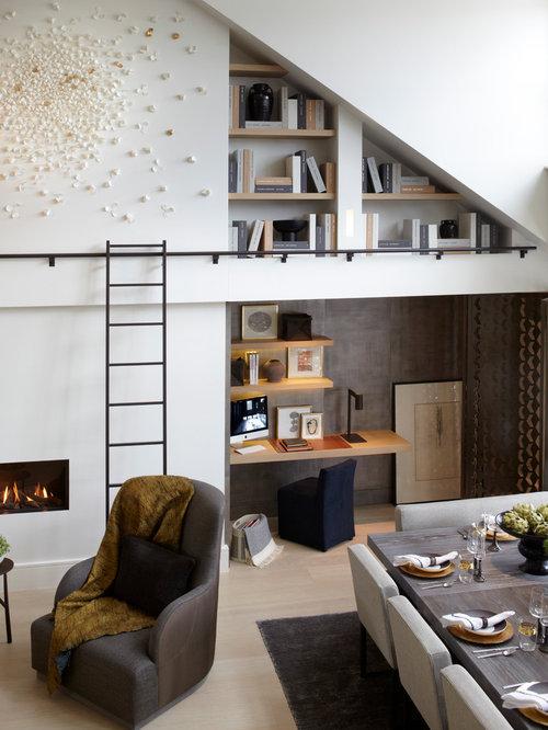 Bookshelf with ladder home design ideas pictures remodel - Amenager un coin bureau dans un salon ...