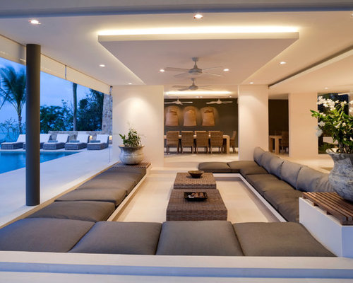 Large Island Style Open Concept Living Room Photo In London