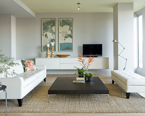 modern living room idea in portland with gray walls and a tv stand save photo jessica helgerson interior design