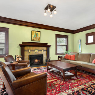 Living Room Large Craftsman Formal Idea In Portland With Green Walls A