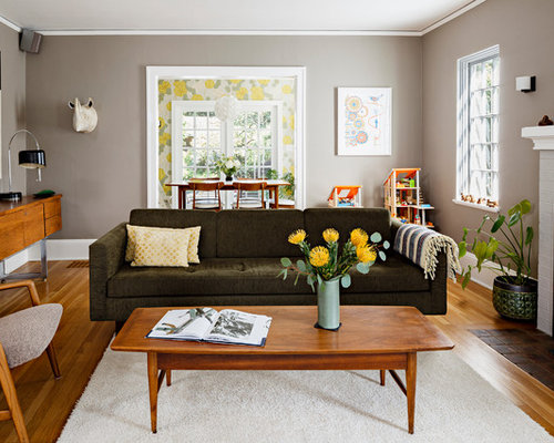 Mid Sized Trendy Enclosed Medium Tone Wood Floor Living Room Photo In  Portland With Gray Part 31