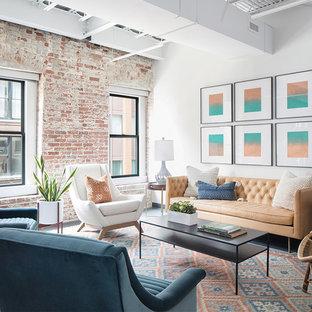 Immagine di un grande soggiorno moderno chiuso con sala formale, pareti bianche, parquet scuro, nessun camino, nessuna TV e pavimento nero