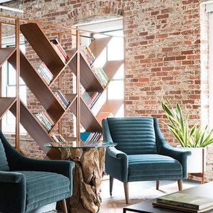 Idee per un grande soggiorno minimalista chiuso con sala formale, pareti bianche, parquet scuro, nessun camino, nessuna TV e pavimento nero