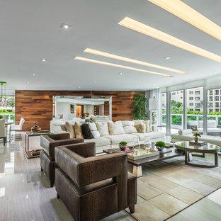 Ispirazione per un grande soggiorno minimal aperto con pareti bianche e pavimento in linoleum
