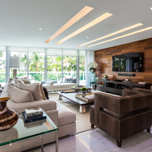 Beau Inspiration For A Large Contemporary Open Concept Linoleum Floor Living Room  Remodel In Miami With White