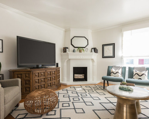 Transitional Medium Tone Wood Floor And Brown Living Room Idea In San Francisco With White