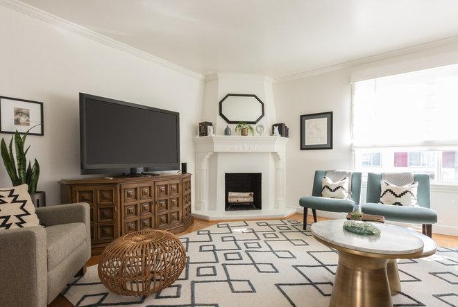 Transitional Living Room by Benni Amadi Interiors