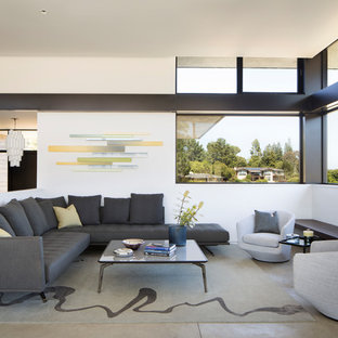 Living Room Contemporary Open Concept Beige Floor And Concrete Idea In San