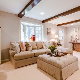 Example of a mid-sized cottage chic enclosed carpeted living room design in DC Metro with gray walls, a standard fireplace, a brick fireplace and a tv stand