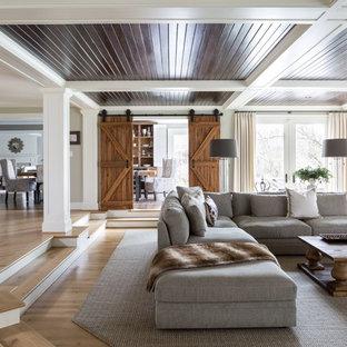 Living room - traditional medium tone wood floor and brown floor living room idea in DC Metro
