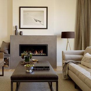 Idee per un soggiorno contemporaneo con cornice del camino in cemento