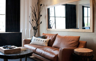 Shop Houzz Leather And Logs In The Living Room