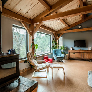 Ispirazione per un soggiorno design di medie dimensioni e aperto con pareti grigie, pavimento in sughero, stufa a legna e TV a parete