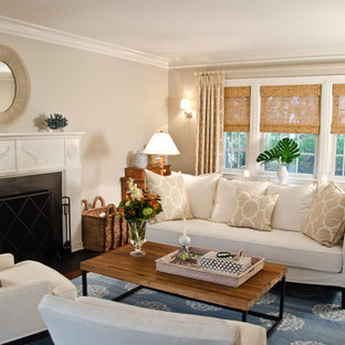 Living room - traditional living room idea in New York with beige walls, a standard fireplace and no tv