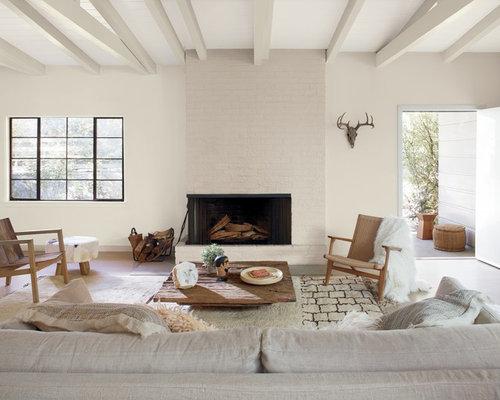 Wohnideen für mediterrane wohnzimmer mit kaminsims aus backstein ...