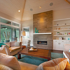 Transitional Living Room by Sticks and Stones Design Group Inc