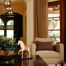 mediterranean family room by Anne Rue Interiors