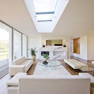 Ispirazione per un grande soggiorno minimalista con pareti bianche e camino lineare Ribbon